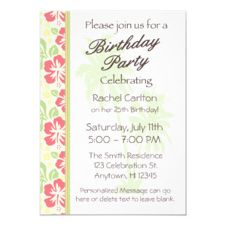 Invitation hawaïenne de fête d'anniversaire de
