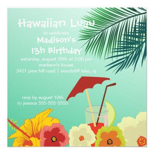 Invitation hawaïenne de fête d'anniversaire de Lua