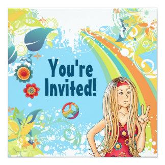 Invitation hippie blonde de fête d'anniversaire de