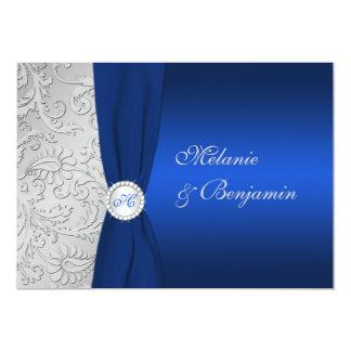 Invitation IMPRIMÉ de mariage damassé d'argent de
