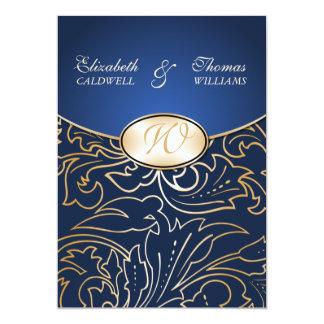Invitation-indigo en filigrane d'or de mariage de carton d'invitation  12,7 cm x 17,78 cm