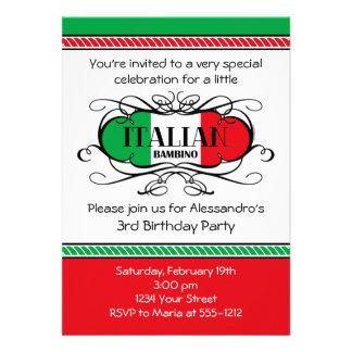 Invitation italienne de fête d'anniversaire du Bam