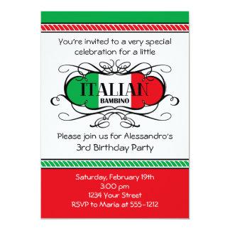 Invitation italienne de fête d'anniversaire du carton d'invitation  12,7 cm x 17,78 cm