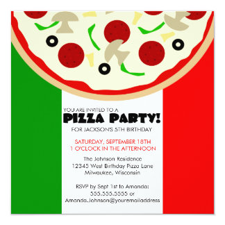 Invitation italienne de partie de pizza carton d'invitation  13,33 cm