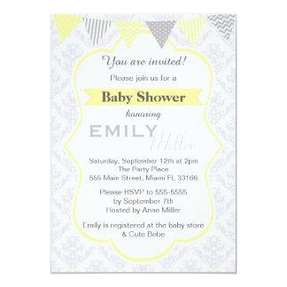 Invitation jaune de baby shower de damassé unisexe