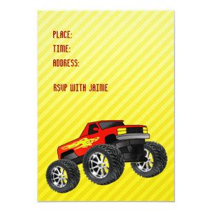 Invitation jaune de camion de monstre