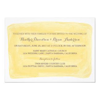 Invitation jaune de mariage d'aquarelle