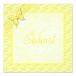 Invitation jaune de sweet sixteen de papillon