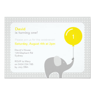 Invitation, jaune et gris de partie d'éléphant carton d'invitation  12,7 cm x 17,78 cm