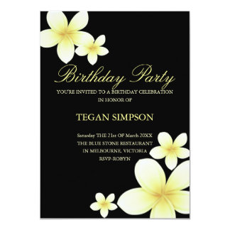 Invitation jaune et noir d'anniversaire de