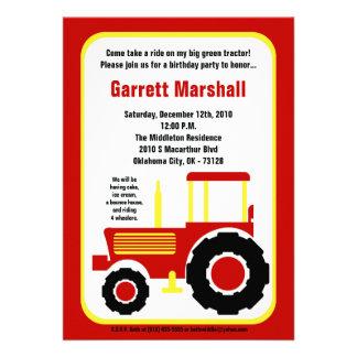 invitation jaune rouge d anniversaire de tracteur