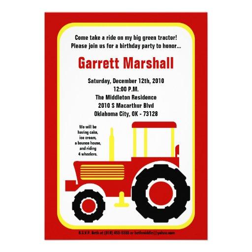 invitation jaune rouge d'anniversaire de tracteur