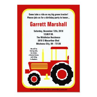 invitation jaune rouge d'anniversaire de tracteur carton d'invitation  12,7 cm x 17,78 cm