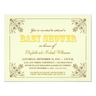 Invitation jaune vintage de baby shower