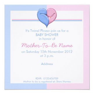 Invitation jumelle de baby shower de coeur de