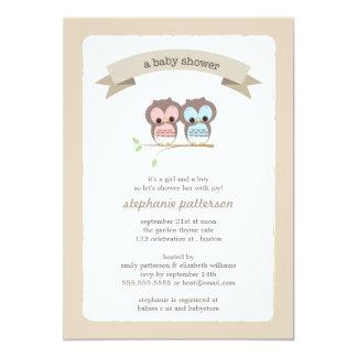 Invitation jumelle de baby shower de fille et de