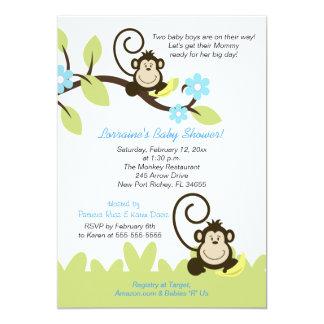Invitation jumelle de baby shower de singe (taille carton d'invitation  12,7 cm x 17,78 cm