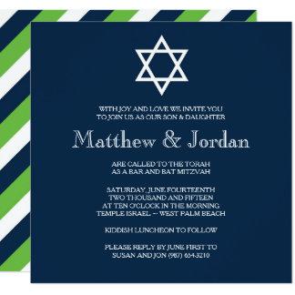 Invitation jumelle de Mitzvah de barre - moderne