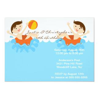 Invitation jumelle MIGNONNE d'anniversaire de Carton D'invitation 12,7 Cm X 17,78 Cm