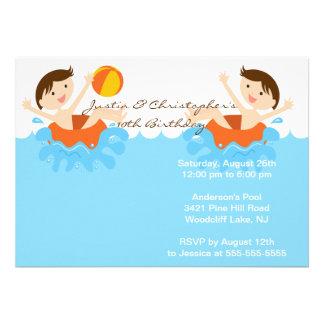 Invitation jumelle MIGNONNE d'anniversaire de réce