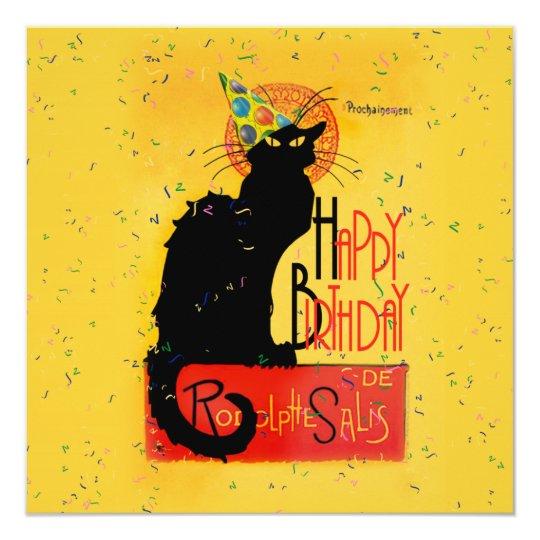 Invitation Le Chat Noir - salutations de joyeux anniversaire   Zazzle.fr