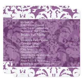 Invitation lilas de mariage damassé de lavande