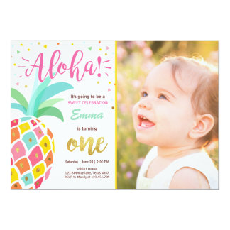 Invitation Luau tropical Hawaï d'anniversaire
