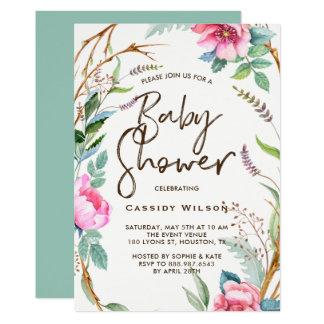 Invitation lunatique de baby shower de guirlande