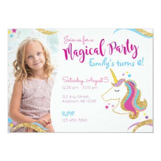 Invitation magique de licorne de scintillement