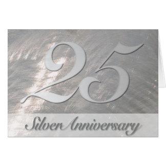 Invitation métallique d'anniversaire d'argent de cartes de vœux