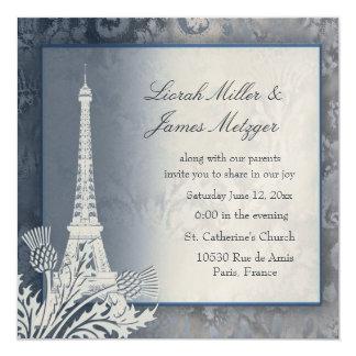Invitation métallique d'or de Tour Eiffel