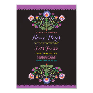 Invitation mexicaine florale d'anniversaire de