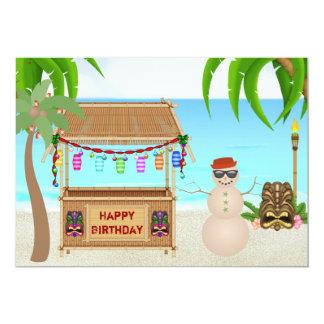 Invitation mignon d'anniversaire d'hiver de plage
