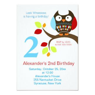 Invitation mignonne d'anniversaire de hibou de carton d'invitation  12,7 cm x 17,78 cm