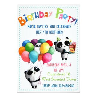 Invitation mignonne d'anniversaire de panda
