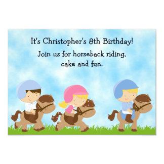 Invitation mignonne d'anniversaire d'équitation carton d'invitation  12,7 cm x 17,78 cm