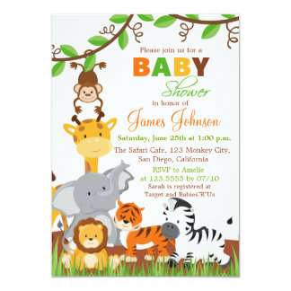 Invitation mignonne de baby shower d'animaux de