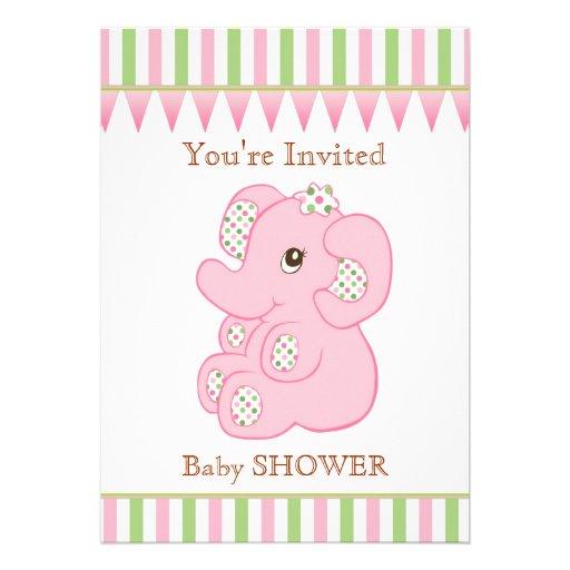 Invitation mignonne de baby shower de fille d'élép