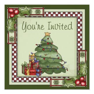 Invitation mignonne de fête de vacances d'arbre de