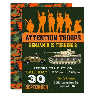 Invitation militaire d'anniversaire de Camo de
