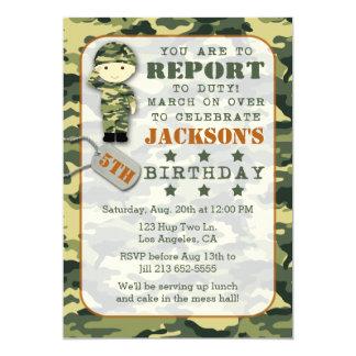 Invitation militaire d'anniversaire de garçon de