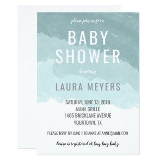 Invitation moderne bleue d'Ombre de baby shower