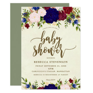 invitation moderne de baby shower de marsala de