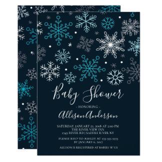 Invitation moderne de baby shower d'hiver de