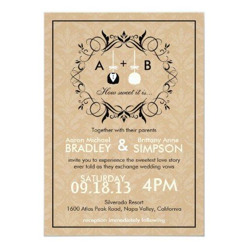 Invitation moderne de mariage de Cakepop de Carton D'invitation 12,7 Cm X 17,78 Cm