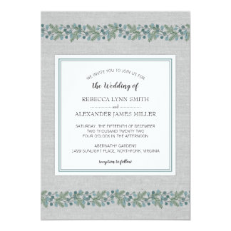 Invitation moderne de mariage de verdure de pin