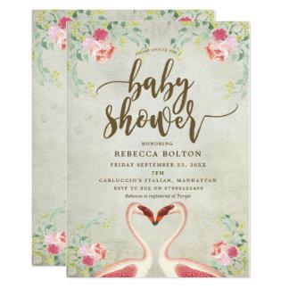 invitation moderne florale de baby shower de