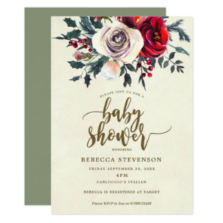 invitation moderne florale de baby shower d'hiver