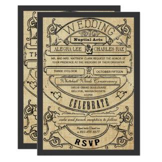 Invitation moderne vintage de mariage de billet de
