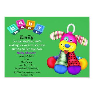 Invitation multicolore de baby shower de chien de